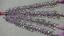 Pink Amethyst Faceted Pear Beads