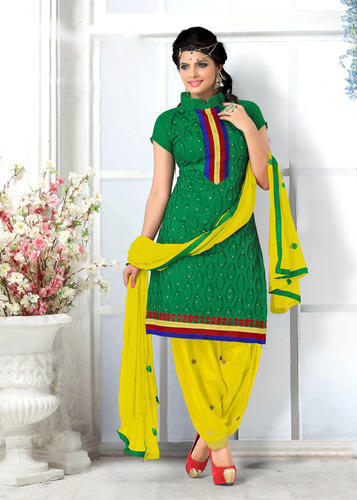 Chanderi Cotton Unstiched Patiyala Salwar Suit