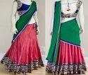 Green And Pink Lahenga Saree