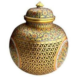 Gold Marble Pot with Lid