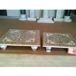 Marble Chowki with Gold Plated Work