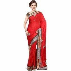 Jacquard Red Designer Sarees