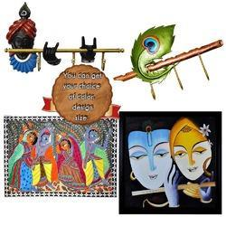 Key Chain Hanger Without Frame Krishna Painting - Various Materials, Metal, Brass