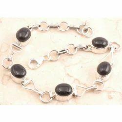 Silver Bracelet Studded with Semi Precious Stones