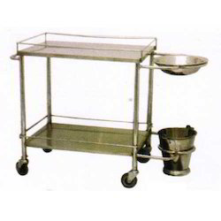Silver Stainless Steel Dressing Trolley, For Hospital, Size: 660 X 400 X 860 Mm