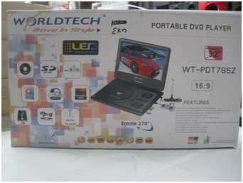 Worldtech 92 Inch Portable DVD Player With LED TV WT PDT786