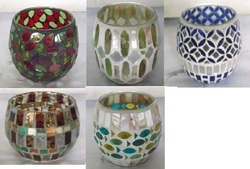 Big Round Mosaic Glass Candle Holder
