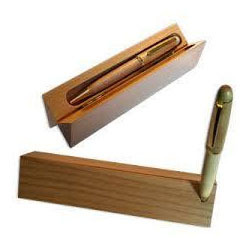 Triangle Wooden Box With Promotional Pens