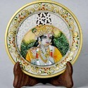 Marble Religious Decorative Plates - Painted Jali Plates