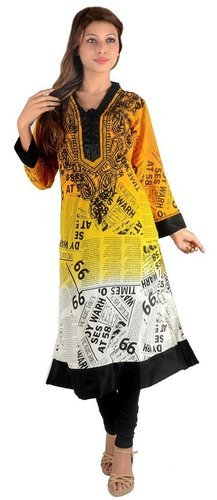 Newspaper Print Long Kurti
