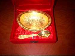 Gold Plated Oval Shape Bowl with 1 Spoon