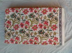 Small Flower Block Printed Cotton Fabric