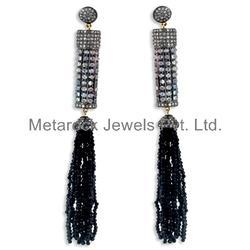 Black Spinel Gemstone Tassel Earring