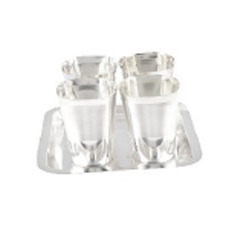 Silver Plated 4 Glasses Set with Tray