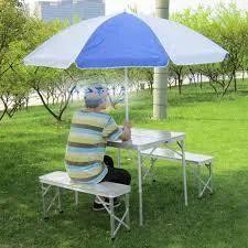 Aluminum Folding Picnic Tables Free Umbrella