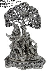Silver Plated White Metal Radha Krishna Sitting Under Tree