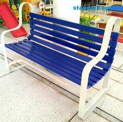 Garden Bench Fully Iron Made Model Blue White Shade
