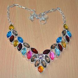Classic Design Multi Gemstone Necklace, Woman's fashion