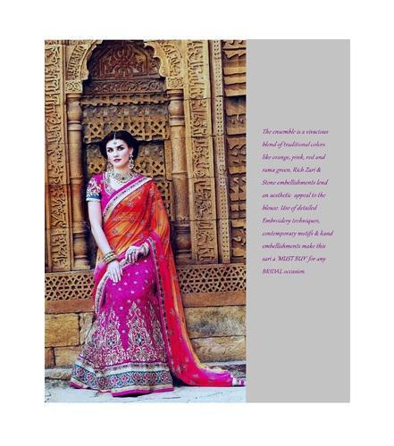 Marvelous Bridal Sari,rich Zari & Stone Work With Embroidery