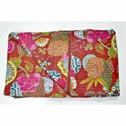 Cottan Multicolor Queen Sari Kantha Quilt