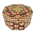 Octagonal Shaped Meenakari Decorative Box