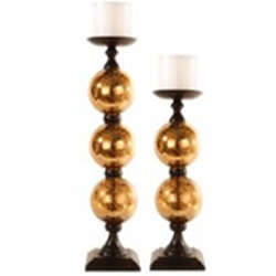 Pillar Candle Holders With Gold Mercury Glass Set Of 2 The