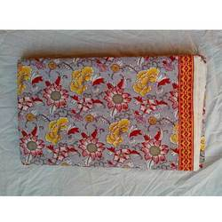 Flower Block Printed Cotton Double Bedsheet