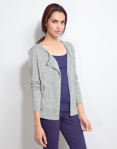 Grey Linen Knit Shrug Tops