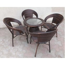 pe rattan chair and table - Garden Furniture Delhi
