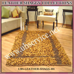 Golden Leather Shaggy Carpet