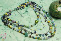 Trendy Alloy Metal Glass Beaded Multi Color Multi-Strand Necklace