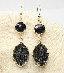 Black Druzy Gold Plated Gemstone Earrings