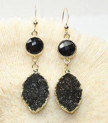 Brass Sterling Silver Drop Earring Black Druzy Gold Plated Gemstone Earrings