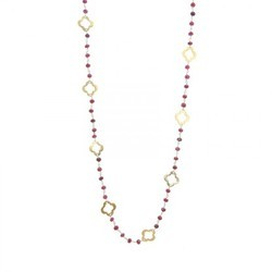 Dyed Ruby Beaded Chain Clover Necklace
