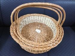 Wood Color Round Basket with Side Handle