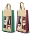 Two Bottle Jute Wine Bag