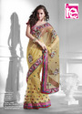 Net Embroidery Yellow Saree