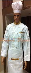 White Chef Coat With Golden Piping
