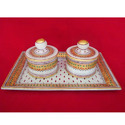 Marble Tray Dibbi Set In White Stone