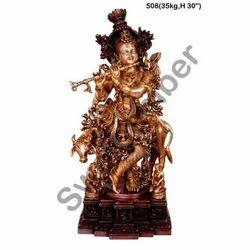 Brass Cow Krishna Statues