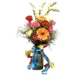 Mix Flowers in Round Glass Vase