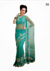 Party Wear Light Blue Colored Net & Georgette Saree