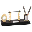 Brass Clock with Pen Stand