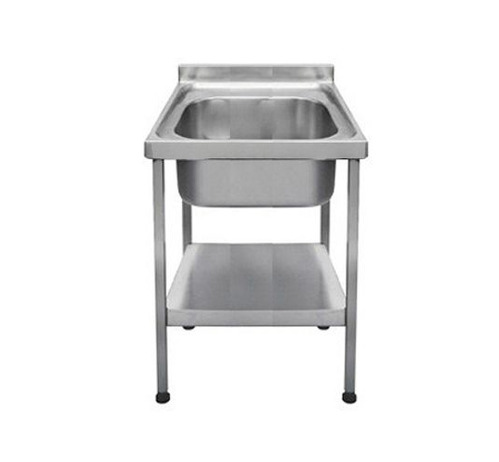 AKSR SS Glossy Single Bowl Stainless Steel Kitchen Sink, For Commercial