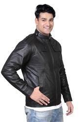 Men's Leatherette Elegant Jacket in Black- Mboss
