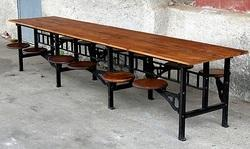 Wood Industrial Cafeteria Table