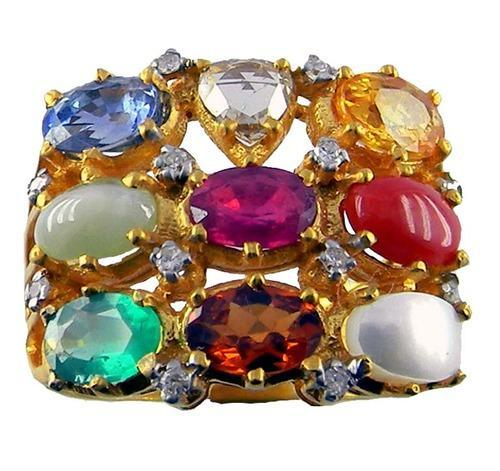 Navratna Ring Gold Jewelry Gem Verna Jaipur