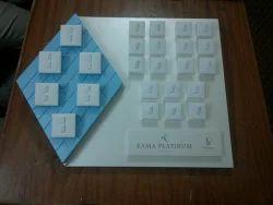 Plastic White & Blue Jewellery Display Unit