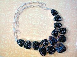 74 Gm .925 Silver Necklace With Fancy Shape Black