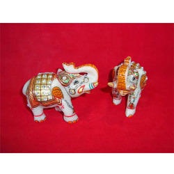 Decorative Elephants Gift Item In White Marble
